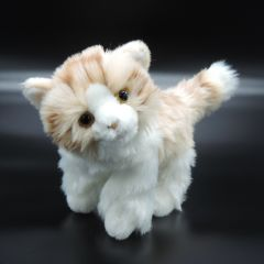 Flauschiges Kätzchen aus Plüsch weiß/hellbraun stehend