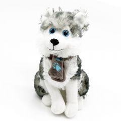 Husky - Plüsch Schlittenhund, Schal mit türkisen Pfoten - sitzend Plüschtier 23 cm