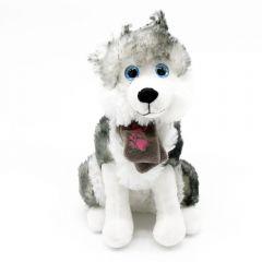 Husky - Plüsch Schlittenhund mit Schal mit pinken Pfoten - sitzend Plüschtier 23 cm