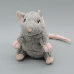 Stofftier Maus grau sitzend