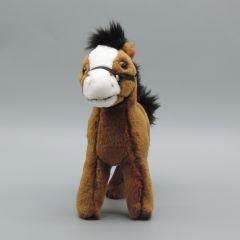 Pony mit Zaumzeug aus Plüsch - braun und weißer Blesse - Vorderansicht