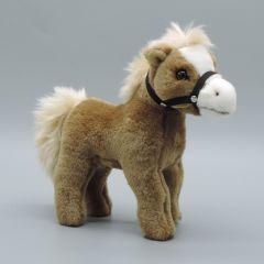 Pony mit Zaumzeug aus Plüsch - beige und weißer Blesse - Vorderansicht