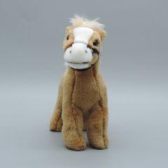 Pony mit Zaumzeug aus Plüsch - hellbraun und weißer Blesse