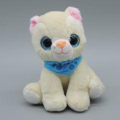 Glubschaugen Katze, beige mit blauem Halstuch