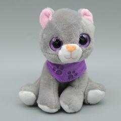 Glubschaugen Katze, grau mit lila Halstuch