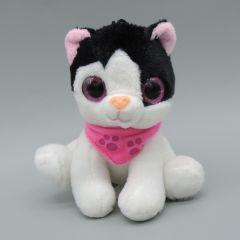 Glubschaugen Katze, weiß/schwarz mit pinken Halstuch