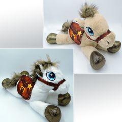 Pferd mit Sattel, liegendes Plüsch