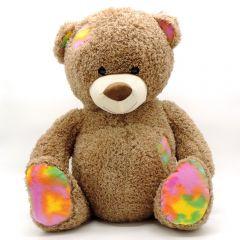Teddybär mit bunten Flicken - 50 cm Knuddelbär sitzend - Vorderansicht