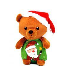 Weihnachtsteddy braun mit Weihnachtsmannmützen - Vorderansicht