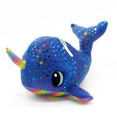 Plüsch Narwal blau mit Regenbogenfarben Sterne 22cm - Seitenansicht