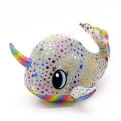 Plüsch Narwal grau mit Regenbogenfarben Sterne 22cm - Seitenansicht