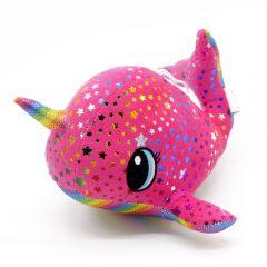 Plüsch Narwal pink mit Regenbogenfarben Sterne 22cm - Seitenansicht