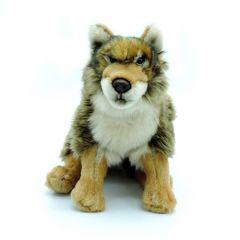 Wolf hockend braun